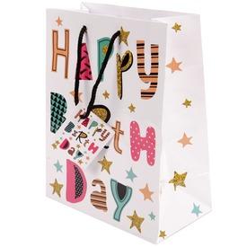 Happy Birthday ajándékzacskó - fehér, 26 x 32 cm