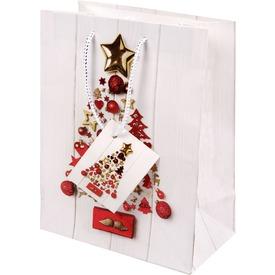 Piros és arany ajándékzacskó - 18 x 23 cm