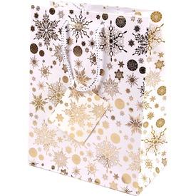 Aranyszínű hópihék ajándékzacskó - 18 x 23 cm