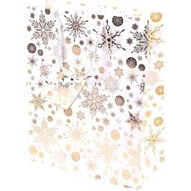 Aranyszínű hópihék ajándékzacskó - 26 x 32 cm