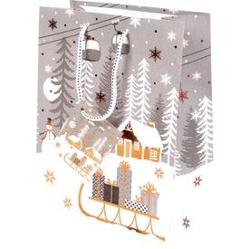 Szán és hóember ajándékzacskó - 18 x 23 cm