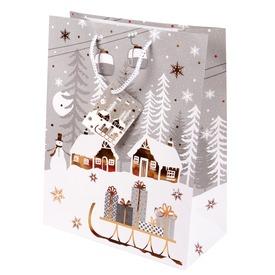 Szán és hóember ajándékzacskó - 26 x 32 cm