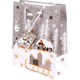Szán és hóember ajándékzacskó - 33 x 46 cm