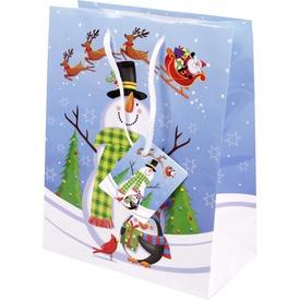 Hóember és pingvin ajándékzacskó - kék, 18 x 23 cm