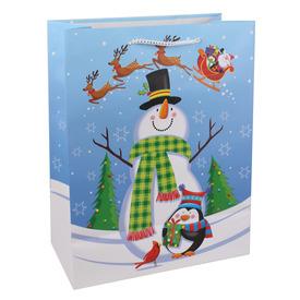 Hóember és pingvin ajándékzacskó - kék, 26 x 32 cm