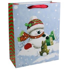 Hóember és nyuszi ajándékzacskó - 18 x 23 cm