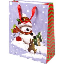 Hóember és nyuszi ajándékzacskó - 26 x 32 cm