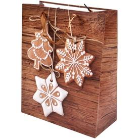 Mézeskalács és fenyőfa ajándékzacskó - 26 x 32 cm