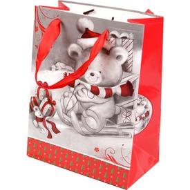 Maci szánkón ajándékzacskó - 18 x 23 cm