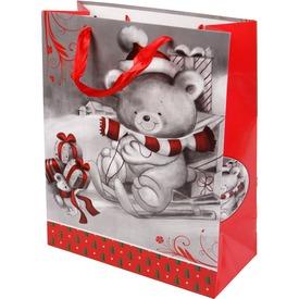 Maci szánkón ajándékzacskó - 26 x 32 cm