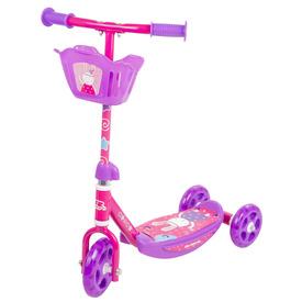 Háromkerekű roller kosárkával, pink