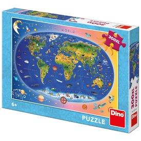 Puzzle 300 db XL - világtérkép gyerekeknek