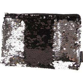 Flitteres kistáska - 21 x 15 cm, fekete-ezüst