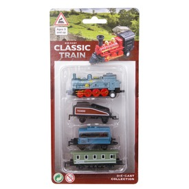 Fém vonat kocsikkal 4 darabos készlet - többféle