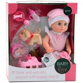 Baby Rose pisilő baba kiskutyával - 32 cm