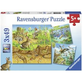 Állatok és élőhelyük 3 x 49 darabos puzzle