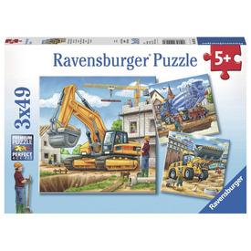 Puzzle 3x49 db - Óriási munkagépek