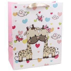 Zsiráfok és szívek ajándékzacskó - 18 x 23 cm