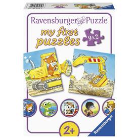 Puzzle 9x2 db - Állatos építkezés