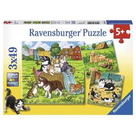 Puzzle 3x49 db - Kedves kutyusok és cicák