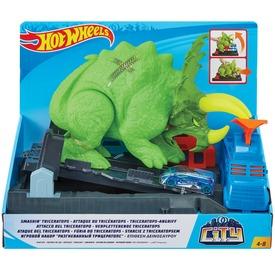 Hot Wheels triceratops zúzó pályakészlet