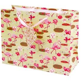 Flamingók ajándékzacskó - 23 x 18 cm