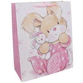 Pizsamás nyuszi ajándékzacskó - 18 x 23 cm
