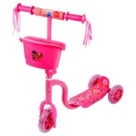 Háromkerekű kosaras roller - rózsaszín
