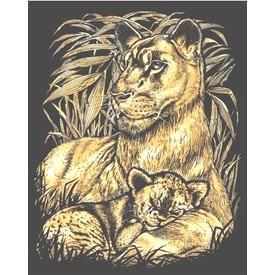 Oroszlán a kölykével arany képkarcoló