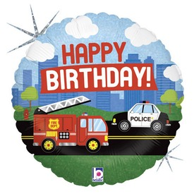Happy Birthday járműves fólia lufi - 45 cm
