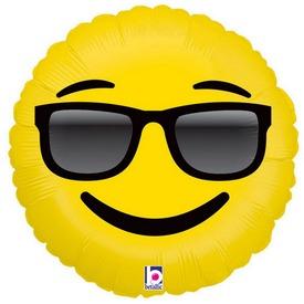 Napszemüveges Emoji fólia lufi - 46 cm