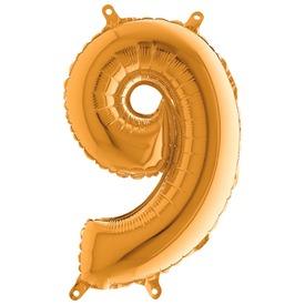9 szám fólia lufi - arany, 36 cm