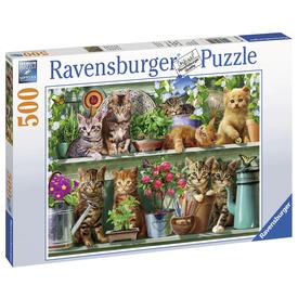 Puzzle 500 db - Cicák a polcon