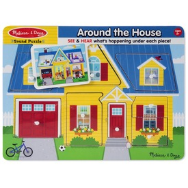 A ház körül fa puzzle hanggal