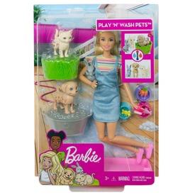 Barbie - Játszó és Fürdő kisállatok szőke babával