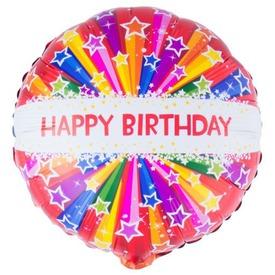 Happy Birthday csillagos fólia lufi - 46 cm