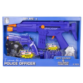 Rendőr fegyver 6 darabos készlet - kék