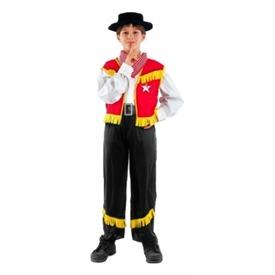 Cowboy jelmez - piros-fekete, 130-140-es méret