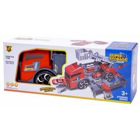 2IN1 tűzoltó autó és garázs, 2 autóval