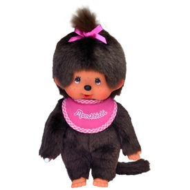 Monchhichi lány figura rózsaszín előkével - 20 cm