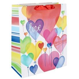 Papírtasak színes szív lufik 18x23