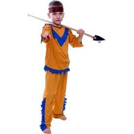 Indián fiú jelmez - barna-kék, 120-130, 130-140-es méret