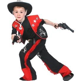 Cowboy jelmez - piros-fekete, 164-es méret