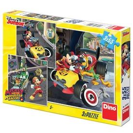 Mikiegér autóverseny 3 x 55 darabos puzzle