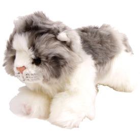Cica fekvő plüssfigura - szürke-fehér, 17 cm