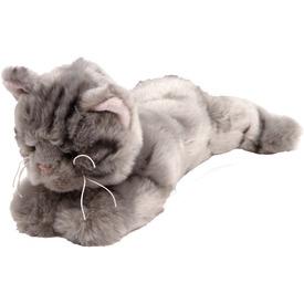 Csíkos cica fekvő plüssfigura - szürke, 27 cm