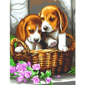 Festhető kép-Kutyák kosárban