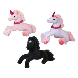 Ló fekvő plüssfigura - fekete, 32 cm